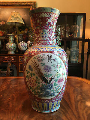 A Rare and Large Chinese Qing Dynasty Famille Rose Porcelain Vase.