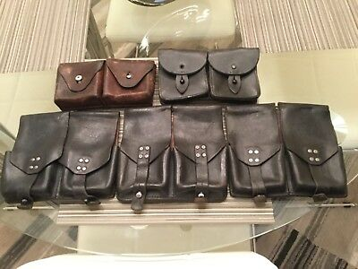 Lot of 5 ESTATE RARE VINTAGE WWII WORLD WAR 2 U.S. GERMAN LEATHER AMMO POUCHES