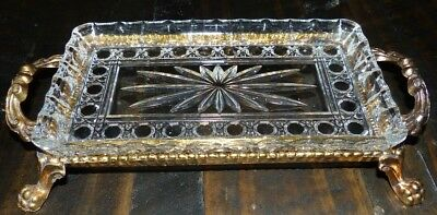 60's Vintage Depression Crystal Glass Brass Vanity Dresser Tray Claw Footed Dish