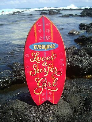 EVERYONE LOVES A SURFER GIRL Tropical Pink Beach Surfboard Sign Home Decor - NEW