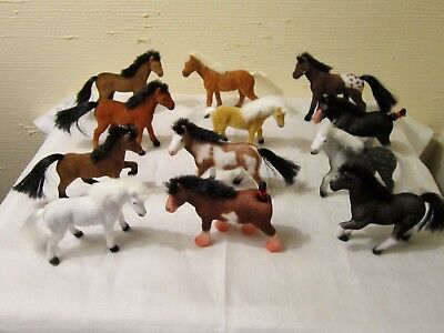 """12 Flocked Horses 2 3/4"""" Tal X 2 3/4"""" Wide/different Breeds/fits Stablemates Set"""