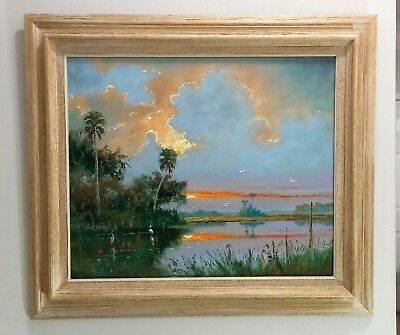 Beautiful Sam Newton Highwaymen Oil Painting 'backwater Sunset' 20X24 On Board
