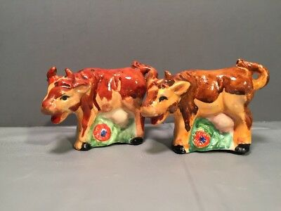 Vintage Milk Cow Salt & Pepper Shakers Colorful Comical Dairy 1950s Made Japan