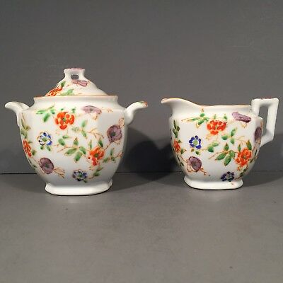 Floral Creamer & Sugar Bowl With Lid Hand Painted Flowers by TRICO Of Japan