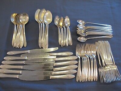 Vintage Oneida Community Tudor Plate Queen Bess Silver Plate 78 Pieces