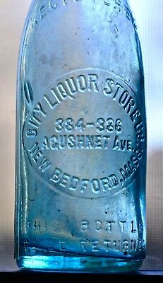 Vintage New Bedford, Ma. City Liquor Store Co. 384-386 Acushnet Ave Bottle