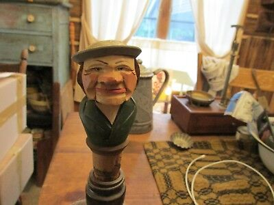 Vintage Folk Art Wooden Carved Man Whisky Stop