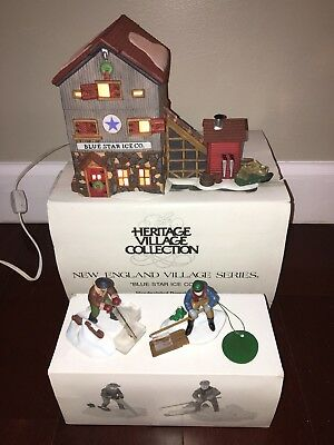 "LOT OF 2: Dept 56 New England Village ""Blue Star Ice Co"" & ""Ice Harvesters"" BOX"