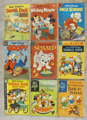 9 rough but readable DISNEY CHARACTER comic books 1949-1960