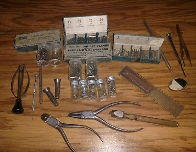 Lot Of Vintage Antique Watch Parts And Repairmans Tools Watchmaker