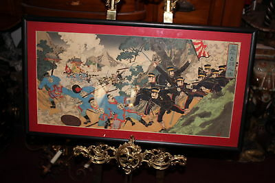 Antique Japanese Wood Block Print-Sino Japan War-#1-Color Triptych-Military