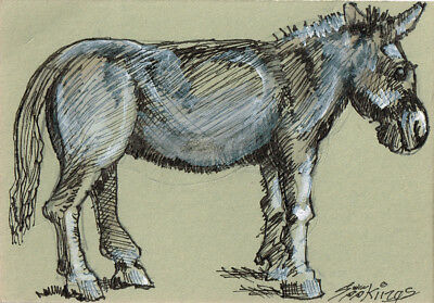 "Original ACEO after ""A Donkey"" by George Stubbs"