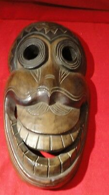 Great Vintage Carved Wall Hanger Wooden Face Mask- Great Character Face