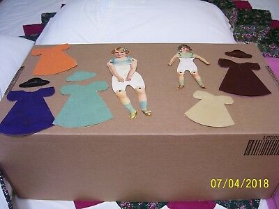 """(Ad 14) 2 1900's Jointed Paper Dolls With Paper Dresses & Hats Antique 9-1/2"""""""