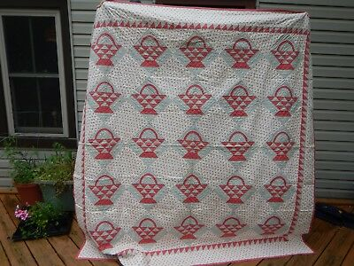 Early Graphic BASKET Quilt Cinnamon Pink  Unused Unwashed  Vintage