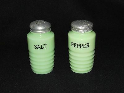 Vintage Jeannette Jadite/Jadeite Green, Set of Salt & Pepper Shakers