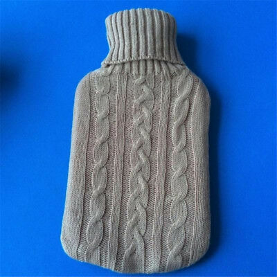2000ml Hot Water Bottle Warmer Bag Cover Knitted Jacket Grey
