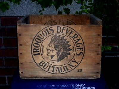 RARE VINTAGE ANTIQUE 1930's  IROQUOIS BREWERY WOODEN BEER CRATE BUFFALO N.Y.