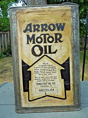 Rare Early Arrow Five Gallon Motor Oil Can