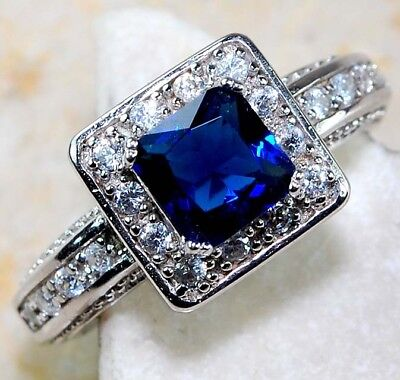 Blue Sapphire & White Topaz 925 Solid Genuine Sterling Silver Ring Jewelry Sz 8