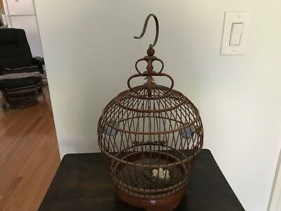 Vintage Bamboo/wooden Bird Cage With Porcelain Cups