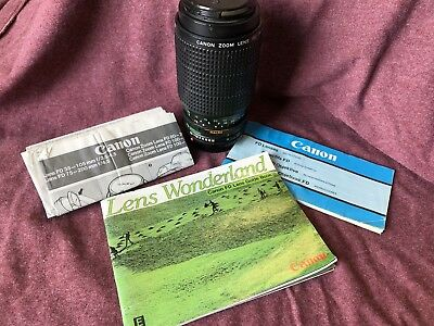 Canon FD 75-200 4.5 MANUAL FOCUS lens NEAR MINT f4.5 zoom ORIGINAL BOX CAPS