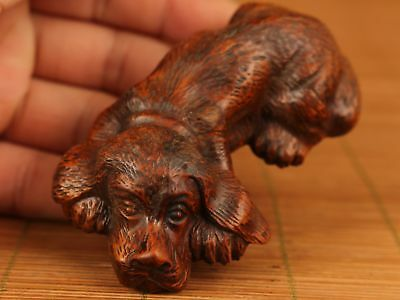chinese Old boxwood hand carving lovely dog statue figure decoration