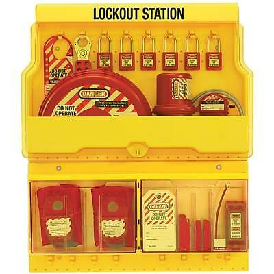 Master Lock S1900VE3 Deluxe Valve and Electric Lockout Station, 6 Steel Padlocks