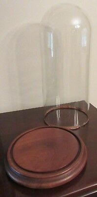 Vintage Blown Glass Display Dome Cloche -Footed Wood Base for Doll, Diorama