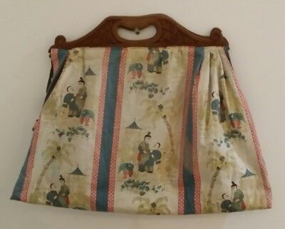 Antique Vintage Chinese Knitting Sewing Bag with Wooden Carved Handles