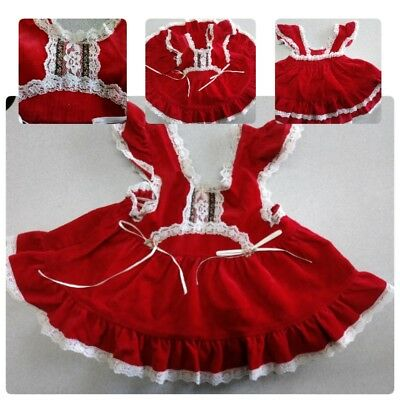 Vintage Evy Of Californa Red Corduroy 12M Girl Pinafore Dress Lace Ribbon Soft