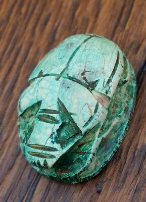 Ancient Antique Egyptian Carved Scarab Beetle 300 B.C Seal Pendant Rare