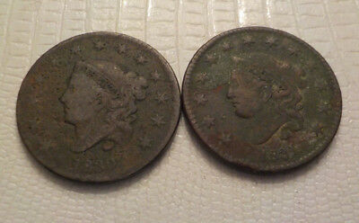 1830 1831 Coronet Head Large Cents old US coins No Reserve