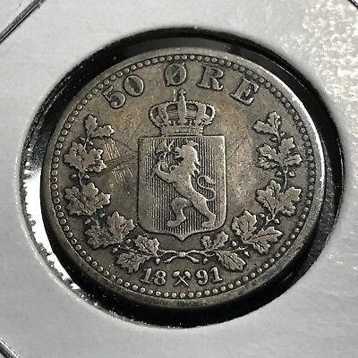 1891 Norway Silver 50 Ore Scarce Coin