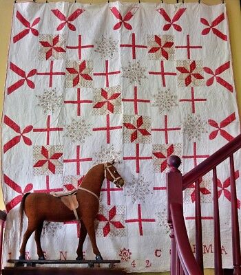Antique Hand Stitched Folk-Art Quilt Signed & Dated 1842 AAFA