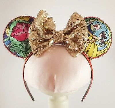 On Sale Beauty and the Beast Minnie Mouse Ears Headband Disney World Disneyland