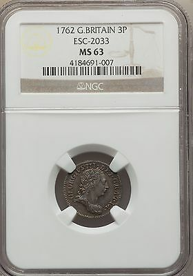 UK 1762 George III Silver 3P NGC MS63 rare historical coin - Maundy ThreePence