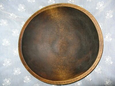 "Antique Wood Dough, Salad Bowl 13"" x 13.5"" Out of Round & Height, Vintage Maple?"