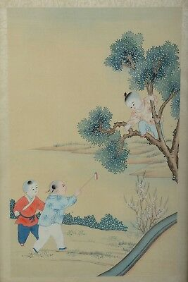Vintage or Antique Chinese Silk Painting Boys Playing Hand Painted