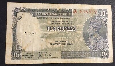 Reserve Bank of India 1937 Issue 10 Rupees Sign. JB Taylor Pick #19a