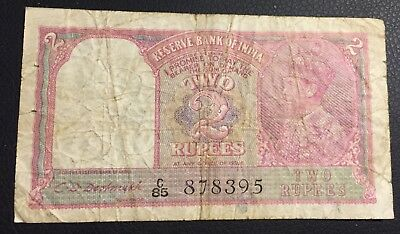 British Colonial India 2 Rupees Currency Banknote 1943 - Low Grade Circulated