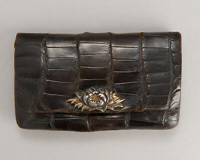 "Antique Orig Tobacco pouch with Silver Mae-Kanagu ""Flower"" portable case Kiseru"