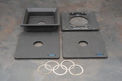 :Lot of 4 Toyo View Camera Lens Boards w 5 Spacer Rings - Various Sizes (AV)