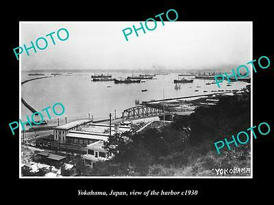 OLD LARGE HISTORIC PHOTO OF YOKOHAMA JAPAN, VIEW OF THE SHIPPING HARBOR c1920