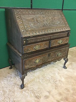 Antique Early English Oak Carved Bureau