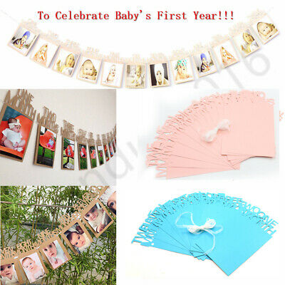 UK 1st Birthday Recording 1-12 Month Photo Banner Garland Monthly Bunting Decor