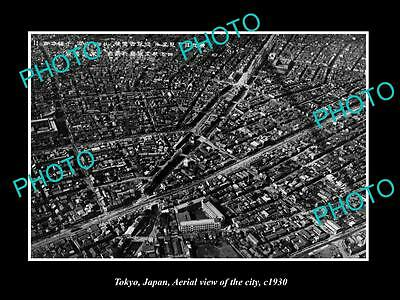 OLD LARGE HISTORIC PHOTO OF TOKYO JAPAN, AERIAL VIEW OF THE CITY c1930