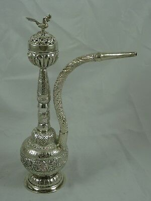 INDO - CHINESE, solid silver HOOKAH PIPE, c1900, 389gm