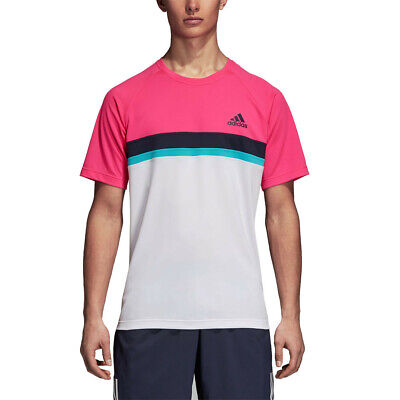 919c32956c84 Adidas Hommes Club Colour Block T-Shirt Tee Top Blanc Sport Tennis Respirant