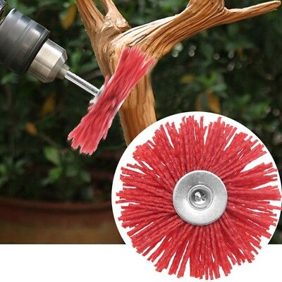 Deburring Abrasive Steel Wire Brush Head Polishing Red Nylon Wheel Cup Shank Hot